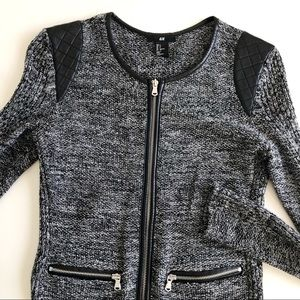 H&M Grey Knit Crew Neck Jacket Leather Detail